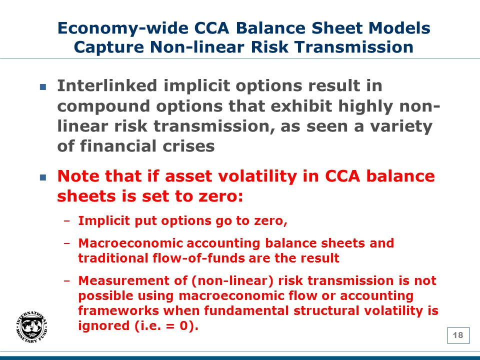 18 Economy-wide CCA Balance Sheet Models Capture Non-linear Risk Transmission Interlinked implicit options result in compound options that exhibit highly non- linear risk transmission, as seen a variety of financial crises Note that if asset volatility in CCA balance sheets is set to zero: –Implicit put options go to zero, –Macroeconomic accounting balance sheets and traditional flow-of-funds are the result –Measurement of (non-linear) risk transmission is not possible using macroeconomic flow or accounting frameworks when fundamental structural volatility is ignored (i.e.