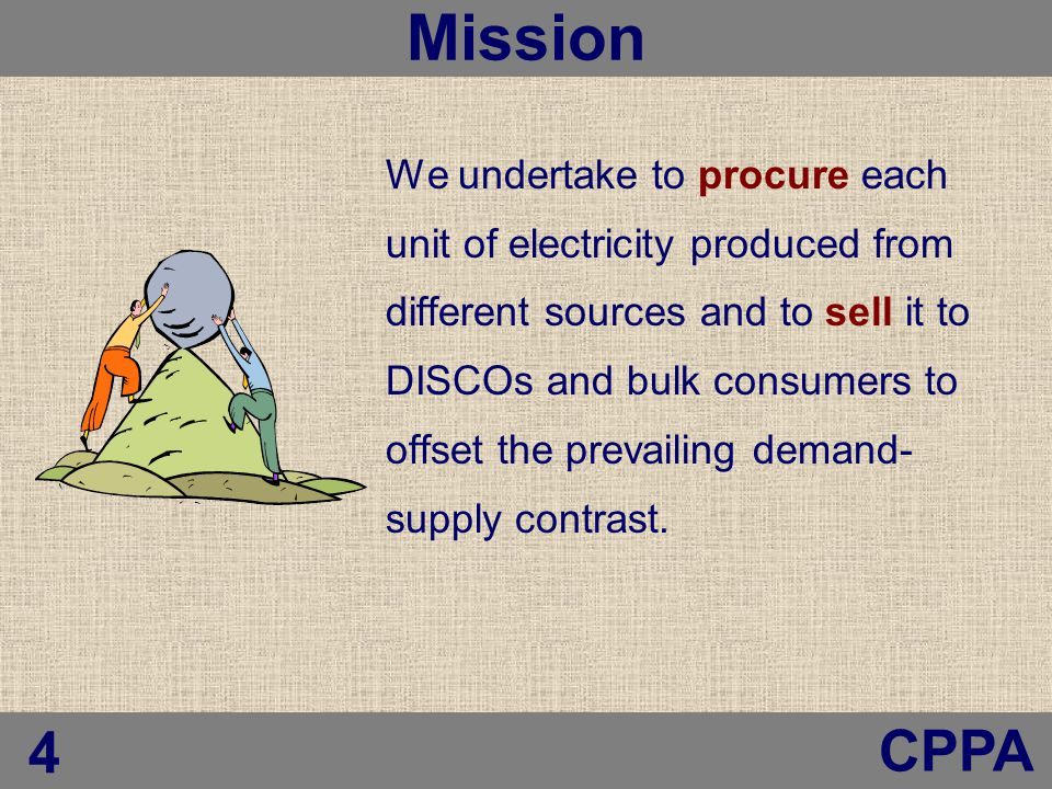 We undertake to procure each unit of electricity produced from different sources and to sell it to DISCOs and bulk consumers to offset the prevailing demand- supply contrast.