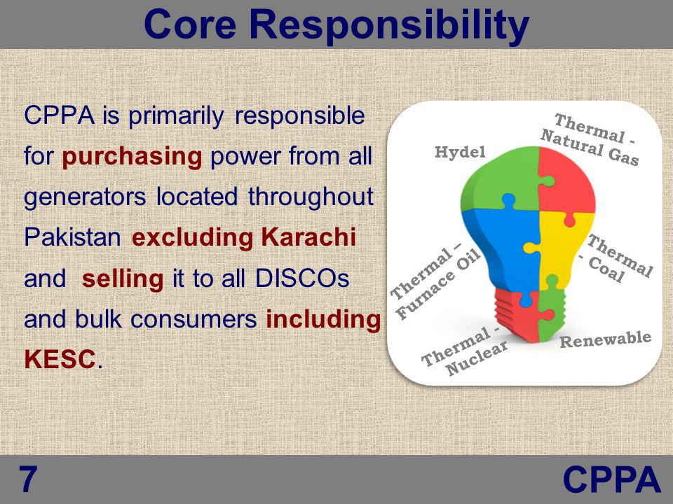 is primarily responsible for purchasing power from all generators located throughout Pakistan excluding Karachi and selling it to all DISCOs and bulk consumers including KESC.