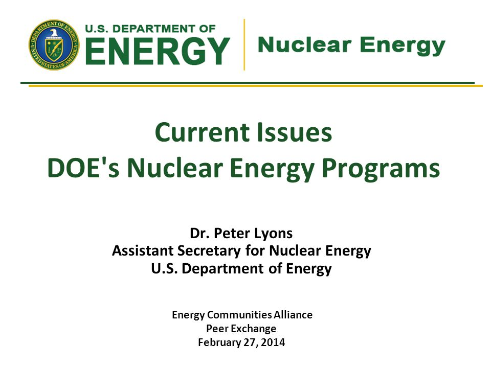 Current Issues DOE s Nuclear Energy Programs Dr.