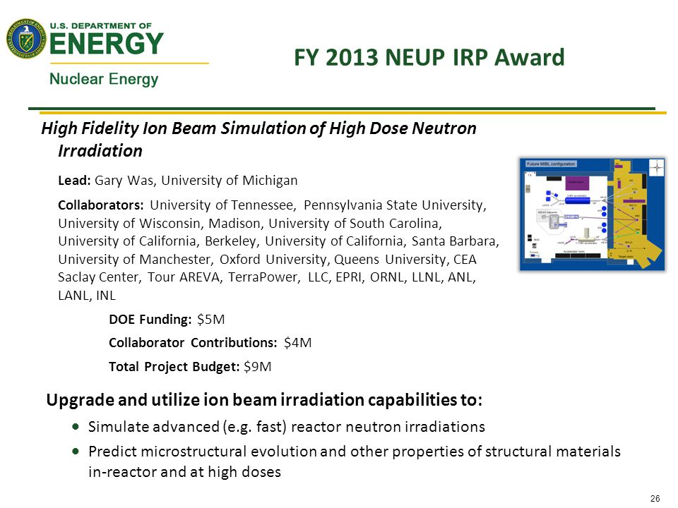 26 FY 2013 NEUP IRP Award High Fidelity Ion Beam Simulation of High Dose Neutron Irradiation Lead: Gary Was, University of Michigan Collaborators: University of Tennessee, Pennsylvania State University, University of Wisconsin, Madison, University of South Carolina, University of California, Berkeley, University of California, Santa Barbara, University of Manchester, Oxford University, Queens University, CEA Saclay Center, Tour AREVA, TerraPower, LLC, EPRI, ORNL, LLNL, ANL, LANL, INL DOE Funding: $5M Collaborator Contributions: $4M Total Project Budget: $9M Upgrade and utilize ion beam irradiation capabilities to:  Simulate advanced (e.g.