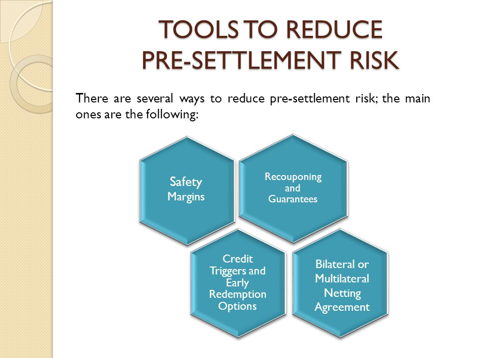 TOOLS TO REDUCE PRE-SETTLEMENT RISK There are several ways to reduce pre-settlement risk; the main ones are the following: Recouponing and Guarantees