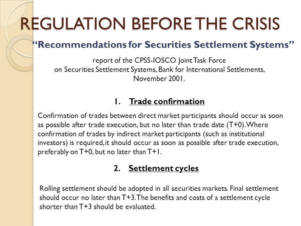 """""""Recommendations for Securities Settlement Systems"""" report of the CPSS-IOSCO Joint Task Force on Securities Settlement Systems, Bank for International"""