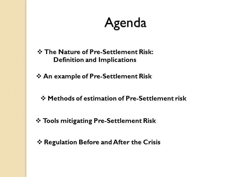 Agenda  The Nature of Pre-Settlement Risk: Definition and Implications  An example of Pre-Settlement Risk  Methods of estimation of Pre-Settlement