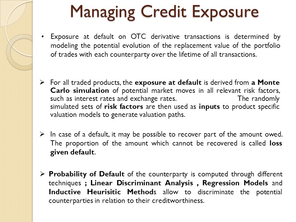 Managing Credit Exposure  For all traded products, the exposure at default is derived from a Monte Carlo simulation of potential market moves in all