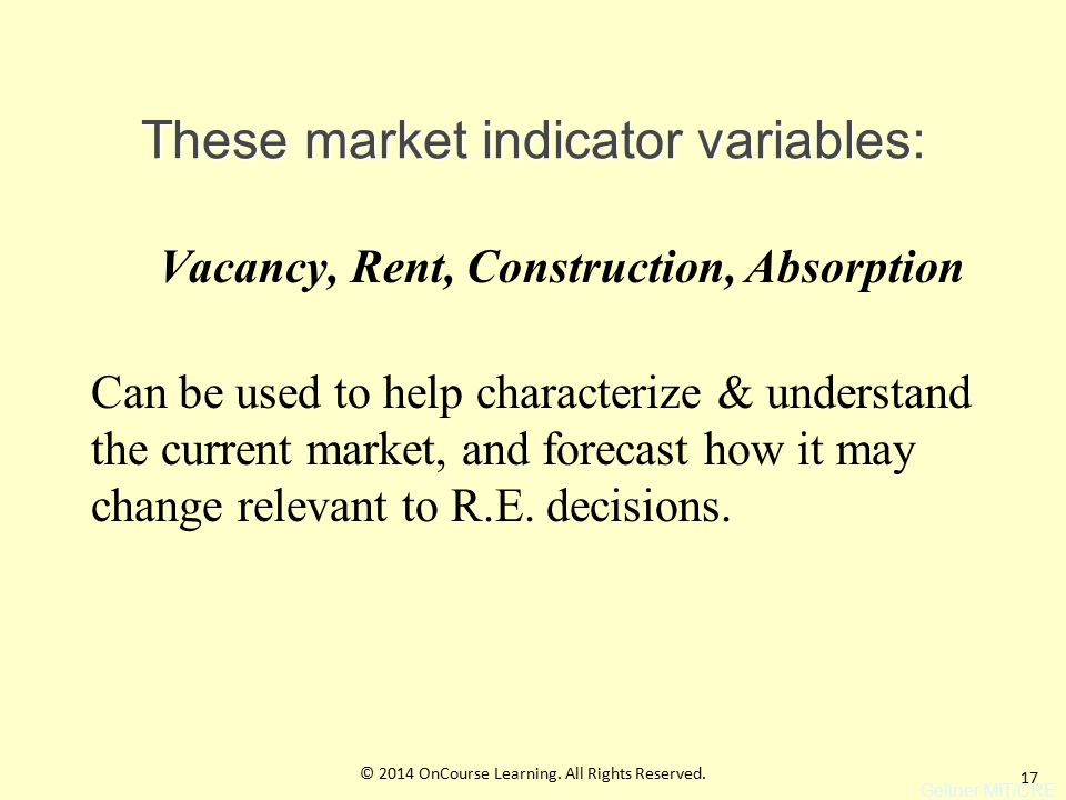 17 These market indicator variables: Vacancy, Rent, Construction, Absorption Can be used to help characterize & understand the current market, and forecast how it may change relevant to R.E.