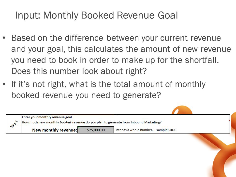 Input: Monthly Booked Revenue Goal Based on the difference between your current revenue and your goal, this calculates the amount of new revenue you need to book in order to make up for the shortfall.
