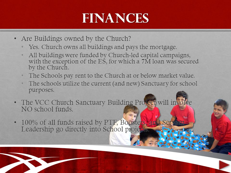 finances Are Buildings owned by the Church Are Buildings owned by the Church.