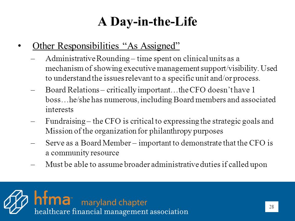 A Day-in-the-Life Other Responsibilities As Assigned –Administrative Rounding – time spent on clinical units as a mechanism of showing executive management support/visibility.
