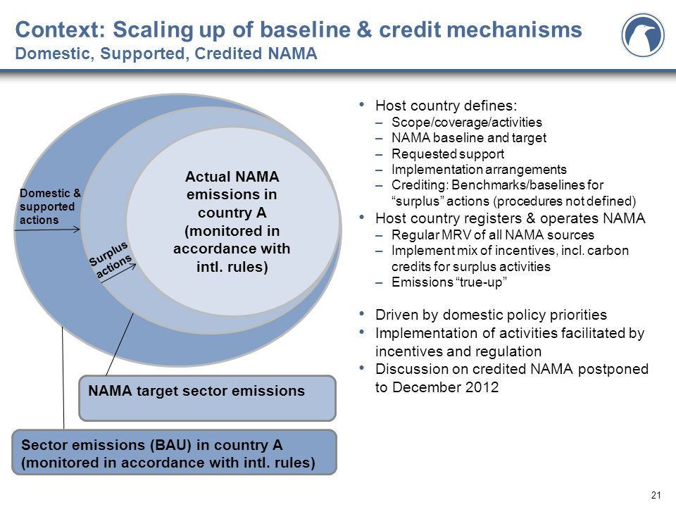 21 Context: Scaling up of baseline & credit mechanisms Domestic, Supported, Credited NAMA Host country defines: –Scope/coverage/activities –NAMA baseline and target –Requested support –Implementation arrangements –Crediting: Benchmarks/baselines for surplus actions (procedures not defined) Host country registers & operates NAMA –Regular MRV of all NAMA sources –Implement mix of incentives, incl.