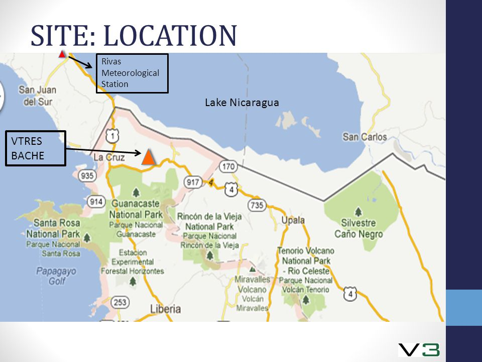 SITE: LOCATION Lake Nicaragua Rivas Meteorological Station VTRES BACHE Lake Nicaragua