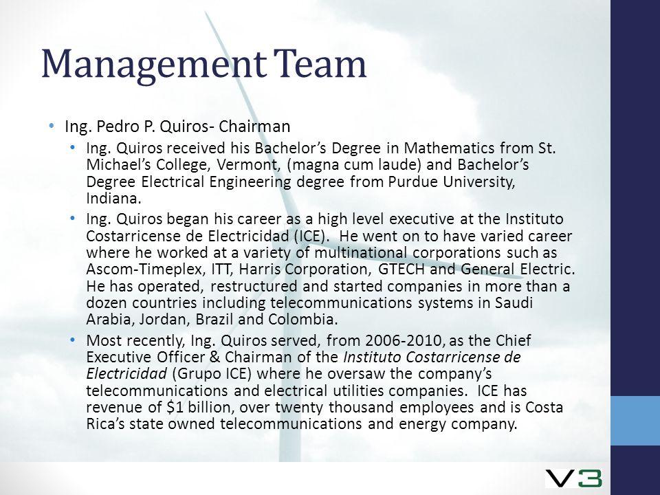 Management Team Ing. Pedro P. Quiros- Chairman Ing.