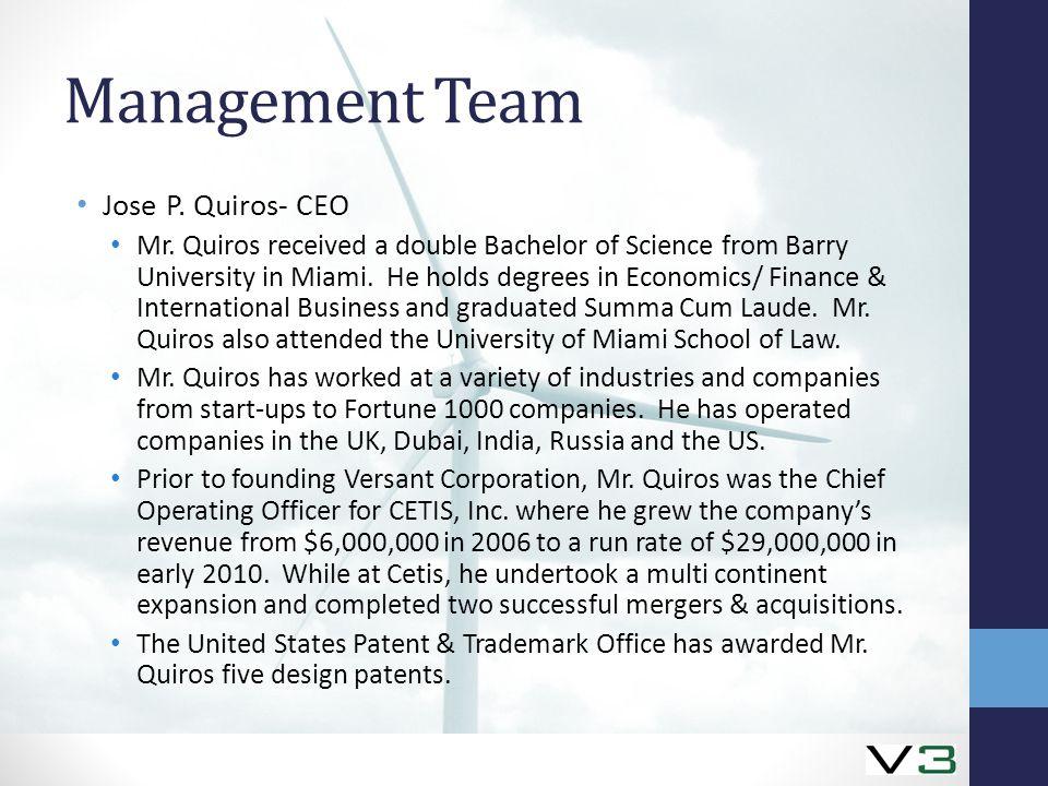 Management Team Jose P. Quiros- CEO Mr.