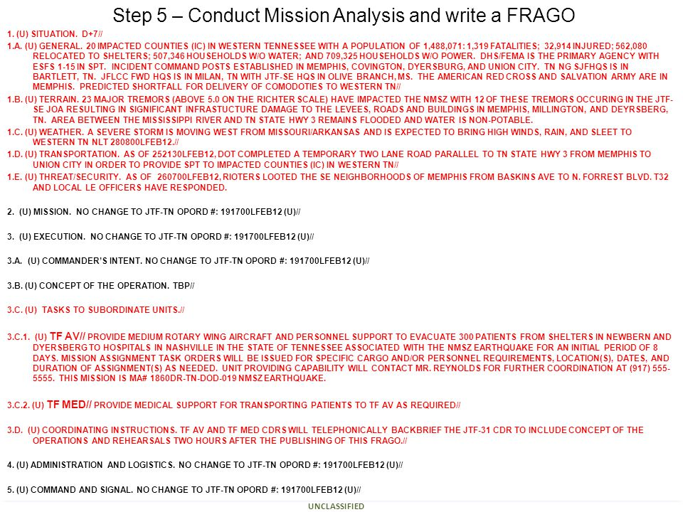 Defense Support of Civil Authorities Course UNCLASSIFIED 14 Step 5 – Conduct Mission Analysis and write a FRAGO 1. (U) SITUATION. D+7// 1.A. (U) GENER