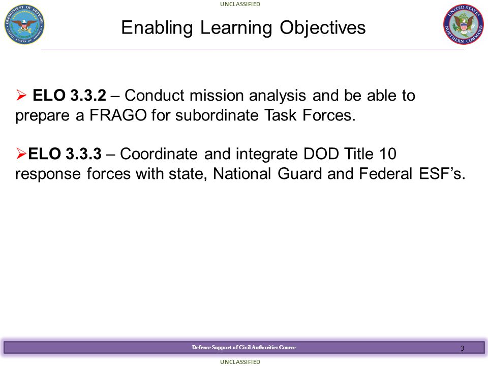 Defense Support of Civil Authorities Course UNCLASSIFIED Enabling Learning Objectives  ELO 3.3.2 – Conduct mission analysis and be able to prepare a