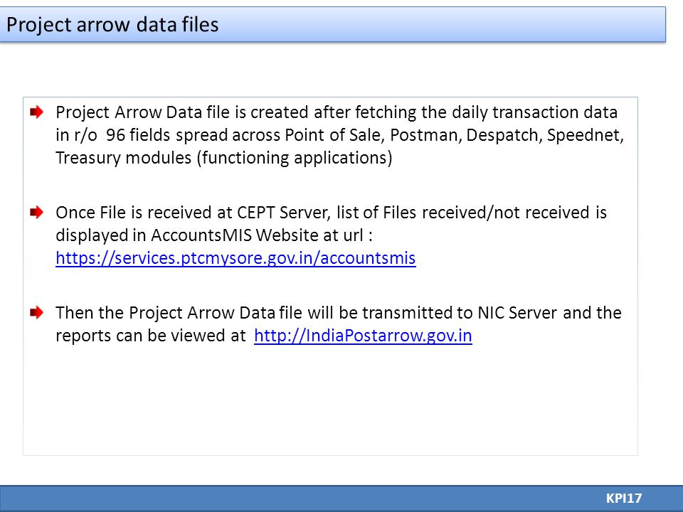 Project Arrow Data file is created after fetching the daily transaction data in r/o 96 fields spread across Point of Sale, Postman, Despatch, Speednet, Treasury modules (functioning applications) Once File is received at CEPT Server, list of Files received/not received is displayed in AccountsMIS Website at url : https://services.ptcmysore.gov.in/accountsmis https://services.ptcmysore.gov.in/accountsmis Then the Project Arrow Data file will be transmitted to NIC Server and the reports can be viewed at http://IndiaPostarrow.gov.inhttp://IndiaPostarrow.gov.in KPI17