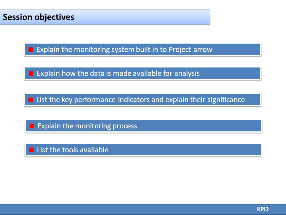 Explain the monitoring system built in to Project arrow Explain how the data is made available for analysis List the key performance indicators and explain their significance Explain the monitoring process List the tools available KPI2