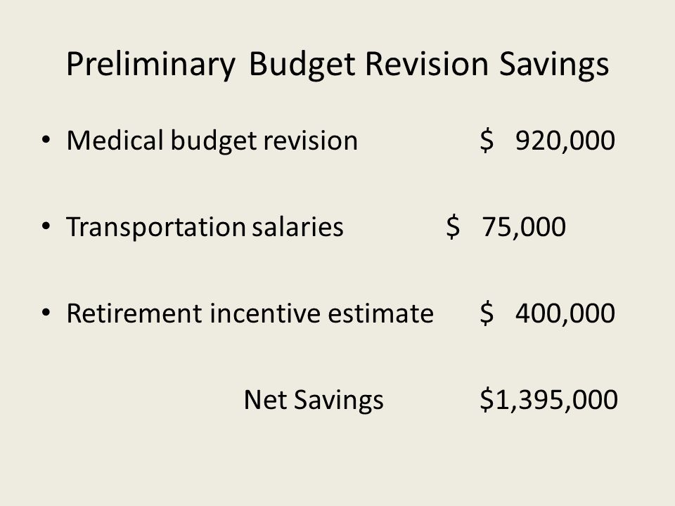 Preliminary Budget Revision Savings Medical budget revision$ 920,000 Transportation salaries$ 75,000 Retirement incentive estimate$ 400,000 Net Savings$1,395,000