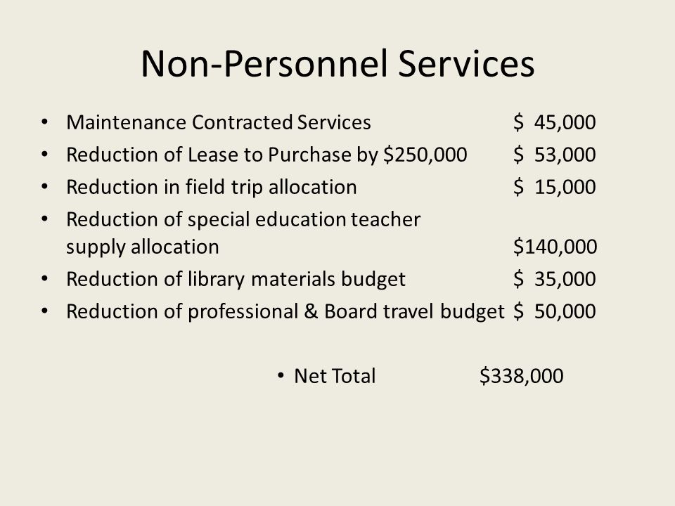Non-Personnel Services Maintenance Contracted Services$ 45,000 Reduction of Lease to Purchase by $250,000$ 53,000 Reduction in field trip allocation$