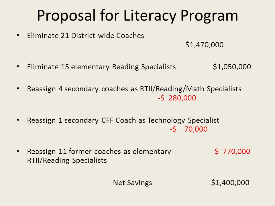Proposal for Literacy Program Eliminate 21 District-wide Coaches $1,470,000 Eliminate 15 elementary Reading Specialists $1,050,000 Reassign 4 secondary coaches as RTII/Reading/Math Specialists -$ 280,000 Reassign 1 secondary CFF Coach as Technology Specialist -$ 70,000 Reassign 11 former coaches as elementary -$ 770,000 RTII/Reading Specialists Net Savings $1,400,000