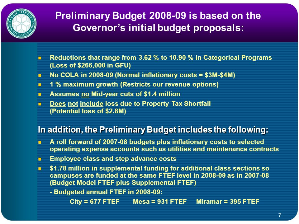 7 Preliminary Budget 2008-09 is based on the Governor's initial budget proposals: Reductions that range from 3.62 % to 10.90 % in Categorical Programs (Loss of $266,000 in GFU) No COLA in 2008-09 (Normal inflationary costs = $3M-$4M) 1 % maximum growth (Restricts our revenue options) Assumes no Mid-year cuts of $1.4 million Does not include loss due to Property Tax Shortfall (Potential loss of $2.8M) A roll forward of 2007-08 budgets plus inflationary costs to selected operating expense accounts such as utilities and maintenance contracts Employee class and step advance costs $1.78 million in supplemental funding for additional class sections so campuses are funded at the same FTEF level in 2008-09 as in 2007-08 (Budget Model FTEF plus Supplemental FTEF) - Budgeted annual FTEF in 2008-09: City = 677 FTEFMesa = 931 FTEFMiramar = 395 FTEF In addition, the Preliminary Budget includes the following: