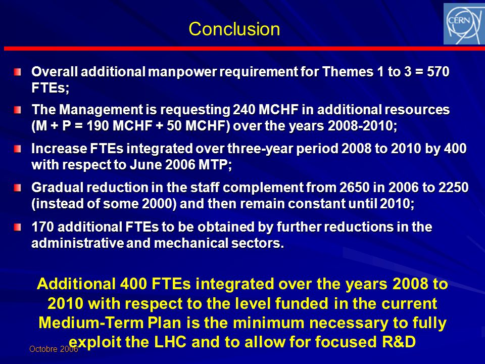 Octobre 2006 Conclusion Overall additional manpower requirement for Themes 1 to 3 = 570 FTEs; The Management is requesting 240 MCHF in additional resources (M + P = 190 MCHF + 50 MCHF) over the years 2008-2010; Increase FTEs integrated over three-year period 2008 to 2010 by 400 with respect to June 2006 MTP; Gradual reduction in the staff complement from 2650 in 2006 to 2250 (instead of some 2000) and then remain constant until 2010; 170 additional FTEs to be obtained by further reductions in the administrative and mechanical sectors.