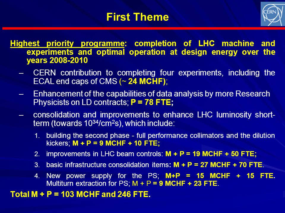First Theme Highest priority programme: completion of LHC machine and experiments and optimal operation at design energy over the years 2008-2010 – –CERN contribution to completing four experiments, including the ECAL end caps of CMS (~ 24 MCHF); – –Enhancement of the capabilities of data analysis by more Research Physicists on LD contracts; P = 78 FTE; – –consolidation and improvements to enhance LHC luminosity short- term (towards 10 34 /cm 2 s), which include: 1.