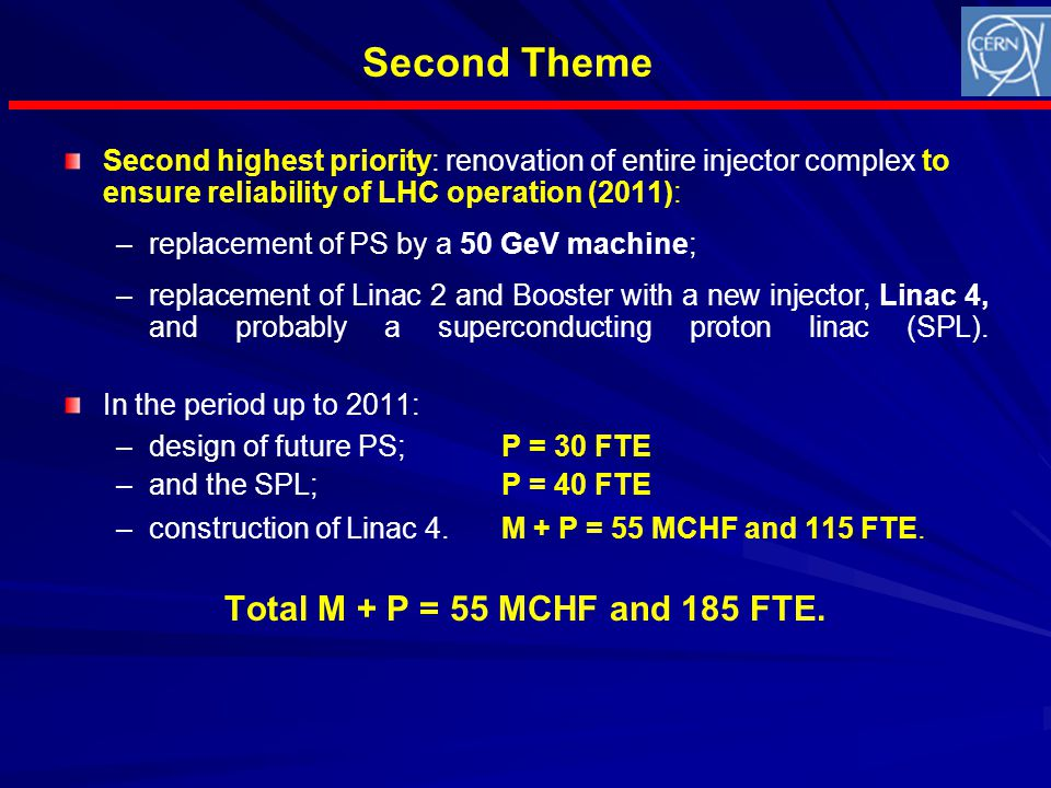 Second Theme Second highest priority: renovation of entire injector complex to ensure reliability of LHC operation (2011): – –replacement of PS by a 50 GeV machine; – –replacement of Linac 2 and Booster with a new injector, Linac 4, and probably a superconducting proton linac (SPL).