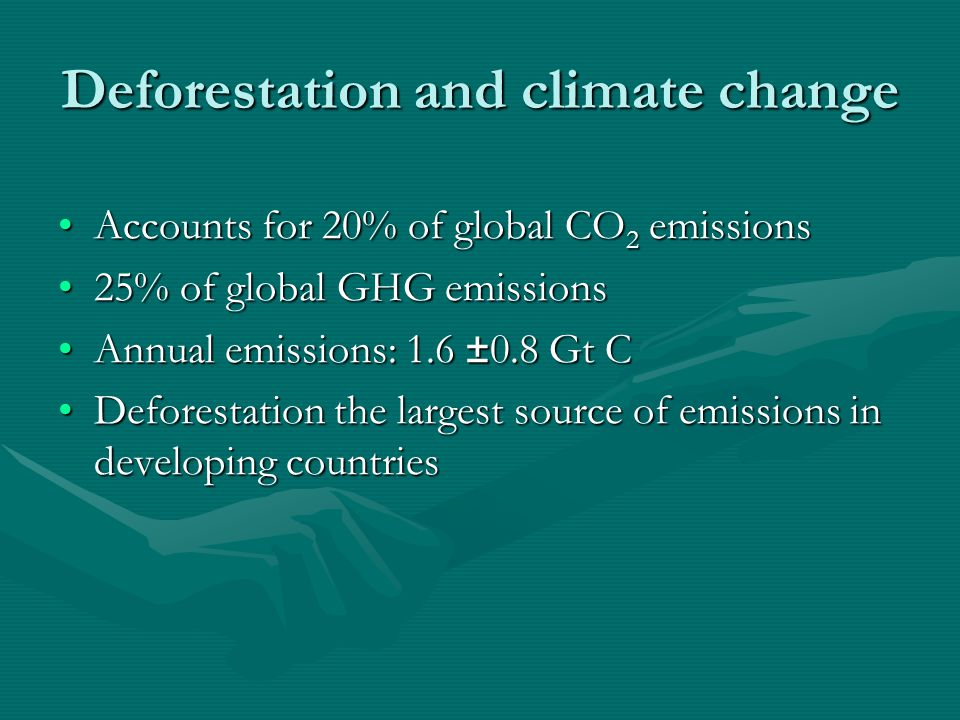 Deforestation and climate change Accounts for 20% of global CO 2 emissionsAccounts for 20% of global CO 2 emissions 25% of global GHG emissions25% of global GHG emissions Annual emissions: 1.6 ±0.8 Gt CAnnual emissions: 1.6 ±0.8 Gt C Deforestation the largest source of emissions in developing countriesDeforestation the largest source of emissions in developing countries