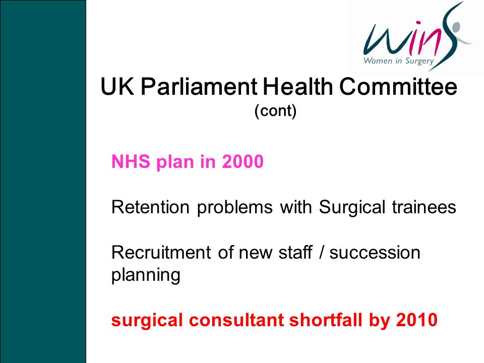 UK Parliament Health Committee (cont) NHS plan in 2000 Retention problems with Surgical trainees Recruitment of new staff / succession planning surgic