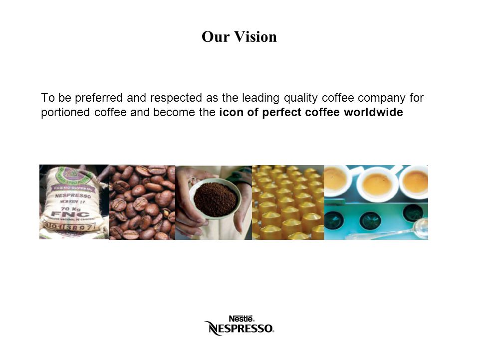 Four factors led to the creation of our AAA Program 1.The potential shortfall in the availability of highest quality coffee Competition with other roasters for these coffees The need to build loyalty in farming communities 2.Building on and developing Nestlé's corporate sustainability commitment The Nestlé Shared Value approach to corporate responsibility Ensuring the value created by Nespresso is shared across the value chain 3.Embedded within our vision and mission statements Continuous improvement of our business in all aspects 4.It's the right thing to do