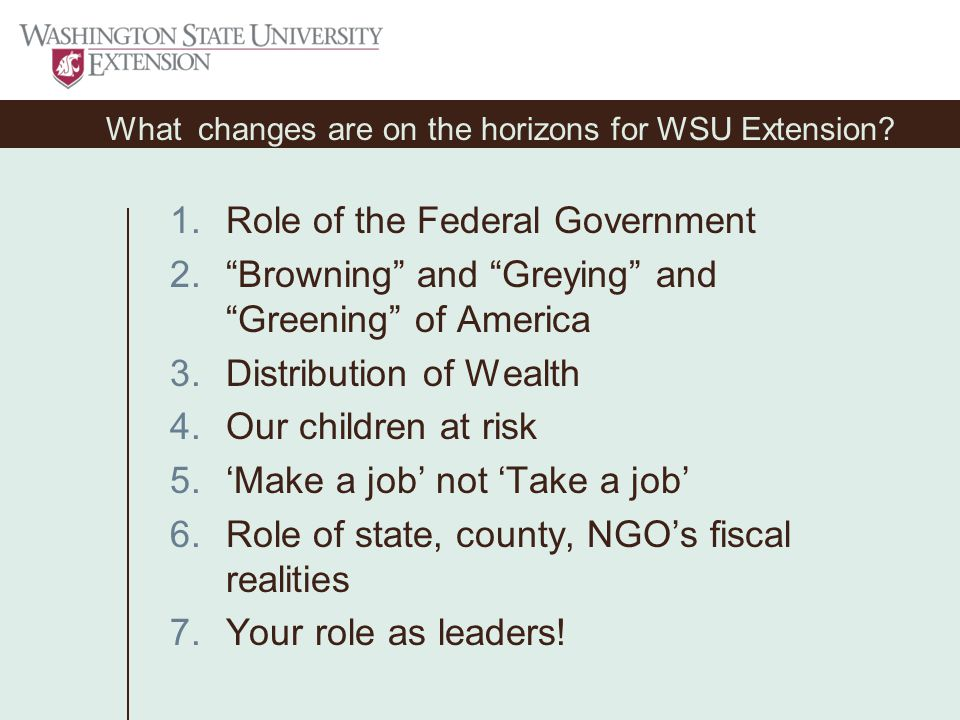What changes are on the horizons for WSU Extension.
