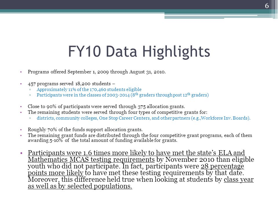 FY10 Data Highlights Programs offered September 1, 2009 through August 31, 2010. 457 programs served 18,200 students – ▫Approximately 11% of the 170,4