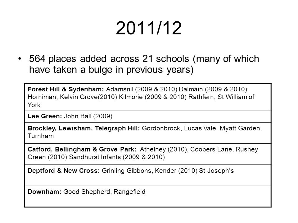 Neighbouring Local Authorities There is no centralised summary of the numbers of classes added in other Local Authorities across London Greenwich, Lambeth.