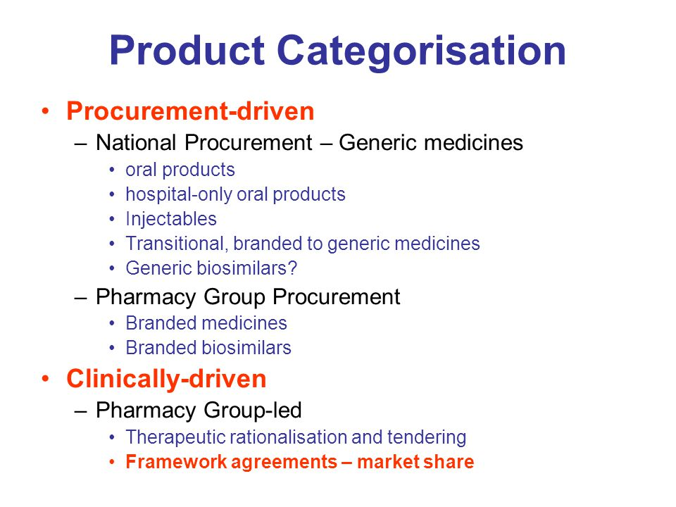 Product Categorisation Procurement-driven –National Procurement – Generic medicines oral products hospital-only oral products Injectables Transitional
