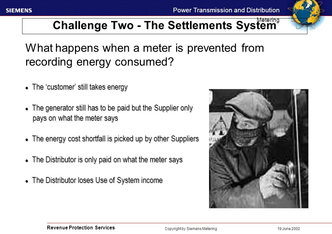Revenue Protection Services Power Transmission and Distribution Metering 19 June 2002 Copyright by Siemens Metering Challenge Two - The Settlements System l The 'customer' still takes energy l The generator still has to be paid but the Supplier only pays on what the meter says pays on what the meter says l The energy cost shortfall is picked up by other Suppliers l The Distributor is only paid on what the meter says l The Distributor loses Use of System income What happens when a meter is prevented from recording energy consumed