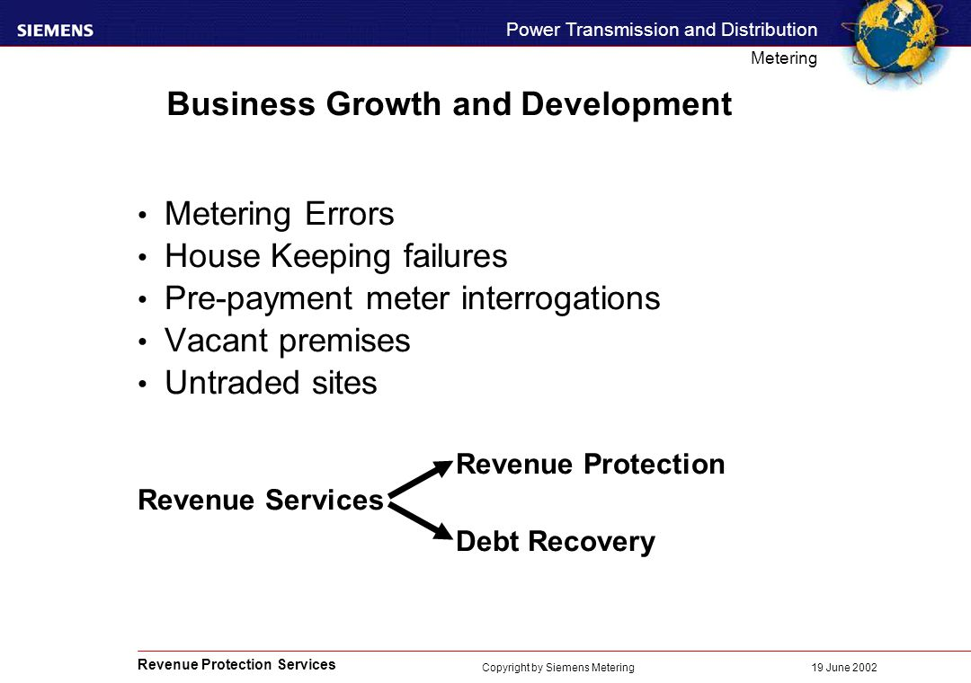Revenue Protection Services Power Transmission and Distribution Metering 19 June 2002 Copyright by Siemens Metering Business Growth and Development Metering Errors House Keeping failures Pre-payment meter interrogations Vacant premises Untraded sites Revenue Protection Revenue Services Debt Recovery