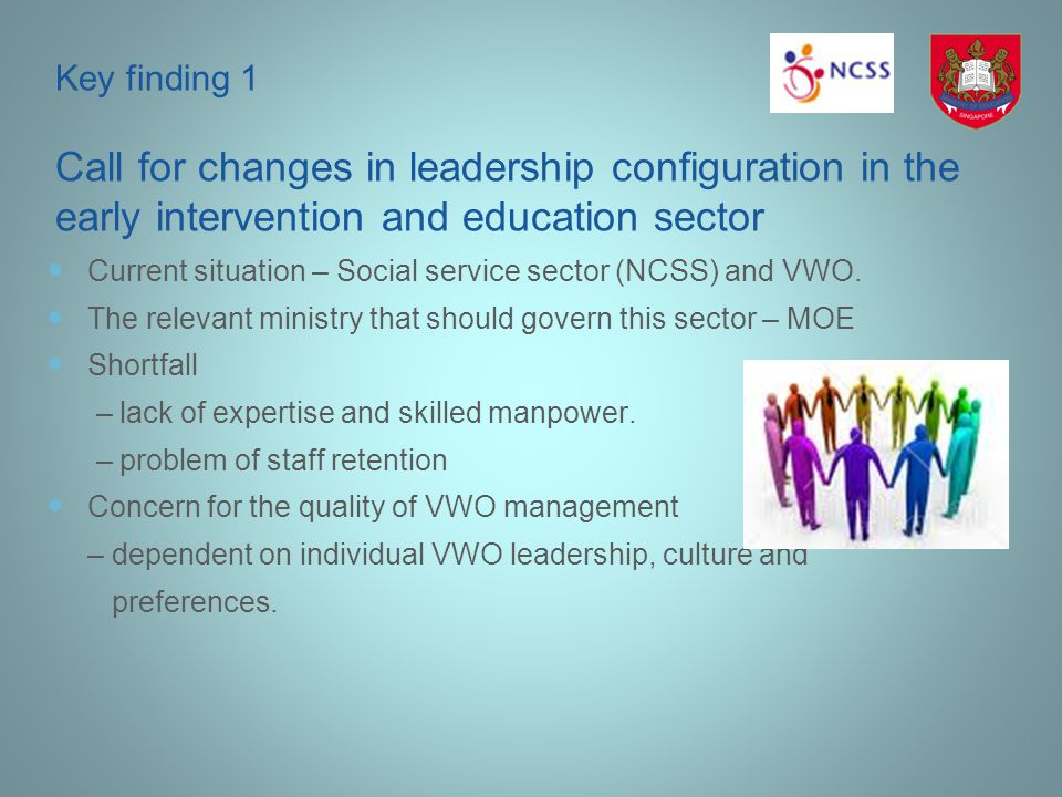 Key finding 1 Call for changes in leadership configuration in the early intervention and education sector Current situation – Social service sector (N