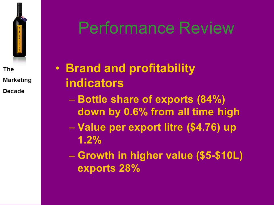 The Marketing Decade Performance Review Collaborative promotion –Aust.