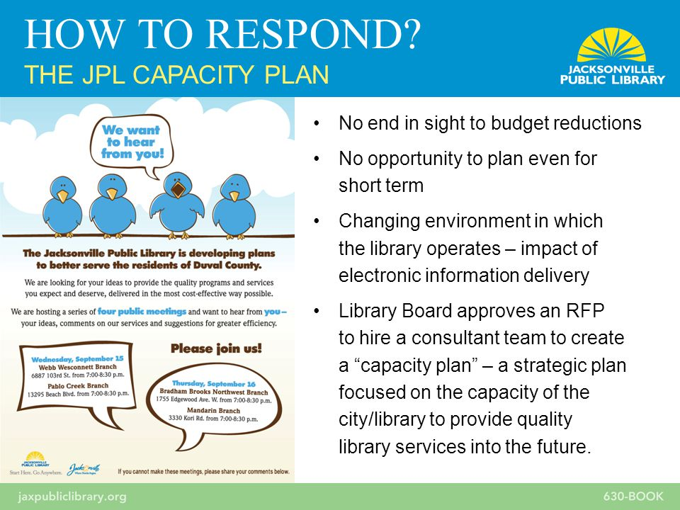 No end in sight to budget reductions No opportunity to plan even for short term Changing environment in which the library operates – impact of electronic information delivery Library Board approves an RFP to hire a consultant team to create a capacity plan – a strategic plan focused on the capacity of the city/library to provide quality library services into the future.