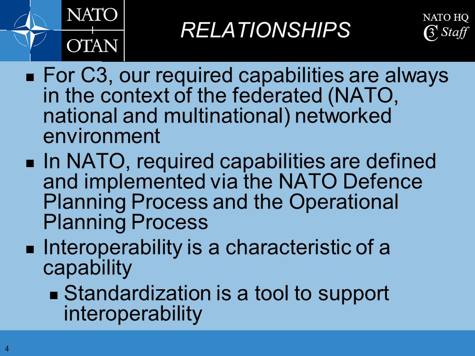 NATO HQ C 3 Staff 5 ACO HQ NATO JFC HQ NATIONAL FORCES NATIONAL FORCES NATIONAL FORCES NATO TASK FORCE NATIONAL AIR FORCES & BASES NATIONAL AIR FORCES & BASES NATIONAL AIR FORCES & BASES DJSE AIR CC HQ LAND CC HQ MARITIME CC HQ SOCC NATO STATIC FEDERATED ENVIRONMENT NATO DEPLOYED NATIONAL DEPLOYED INFORMATION FLOW