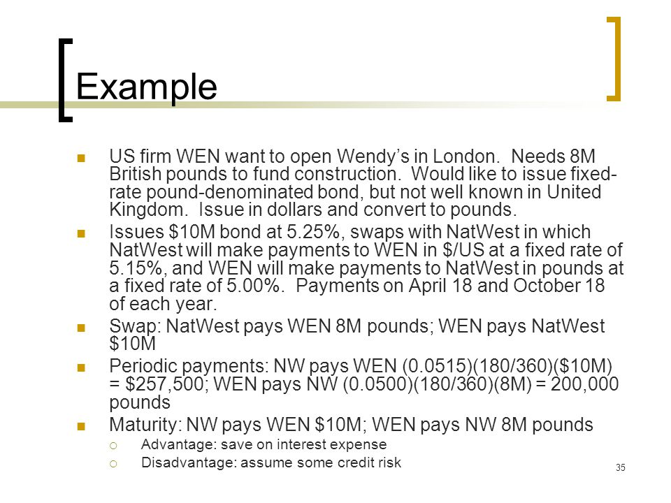 36 Interest Rate Swaps Plain vanilla swap: interest rate swap in which one party pays a fixed rate and the other pays a floating rate  Notional amounts must be equal for each party For each payment (usually every 6 months) rates are multiplied by the fraction (N/360 or N/365), where N is the number of days in the settlement period  No need to exchange notional principals since the swap is done in the same currency  Netted transactions: if one party owes $250K and the other owes $245K, the party owing $250K will pay the net difference ($5K)  Never do both sides pay fixed in an IRS
