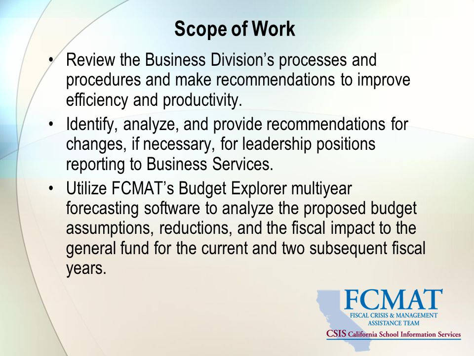 Scope of Work Review the Business Division's processes and procedures and make recommendations to improve efficiency and productivity. Identify, analy