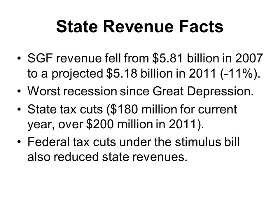 State Revenue Facts SGF revenue fell from $5.81 billion in 2007 to a projected $5.18 billion in 2011 (-11%).