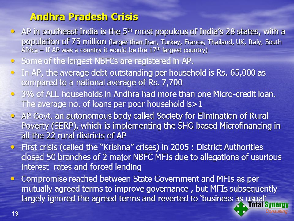 Andhra Pradesh Crisis AP in southeast India is the 5 th most populous of India's 28 states, with a population of 75 million (larger than Iran, Turkey, France, Thailand, UK, Italy, South Africa – If AP was a country it would be the 17 th largest country) AP in southeast India is the 5 th most populous of India's 28 states, with a population of 75 million (larger than Iran, Turkey, France, Thailand, UK, Italy, South Africa – If AP was a country it would be the 17 th largest country) Some of the largest NBFCs are registered in AP.