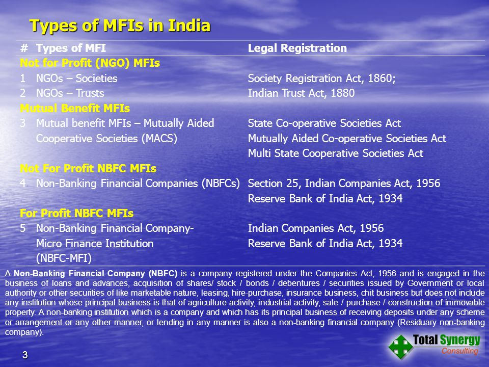 Types of MFIs in India 3 #Types of MFILegal Registration Not for Profit (NGO) MFIs 1NGOs – SocietiesSociety Registration Act, 1860; 2NGOs – TrustsIndian Trust Act, 1880 Mutual Benefit MFIs 3 Mutual benefit MFIs – Mutually Aided Cooperative Societies (MACS) State Co-operative Societies Act Mutually Aided Co-operative Societies Act Multi State Cooperative Societies Act Not For Profit NBFC MFIs 4Non-Banking Financial Companies (NBFCs) Section 25, Indian Companies Act, 1956 Reserve Bank of India Act, 1934 For Profit NBFC MFIs 5Non-Banking Financial Company- Micro Finance Institution (NBFC-MFI) Indian Companies Act, 1956 Reserve Bank of India Act, 1934 A Non-Banking Financial Company (NBFC) is a company registered under the Companies Act, 1956 and is engaged in the business of loans and advances, acquisition of shares/ stock / bonds / debentures / securities issued by Government or local authority or other securities of like marketable nature, leasing, hire-purchase, insurance business, chit business but does not include any institution whose principal business is that of agriculture activity, industrial activity, sale / purchase / construction of immovable property.