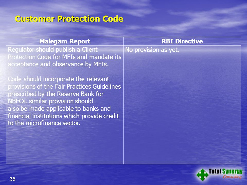 Customer Protection Code Malegam Report RBI Directive Regulator should publish a Client Protection Code for MFIs and mandate its acceptance and observance by MFIs.