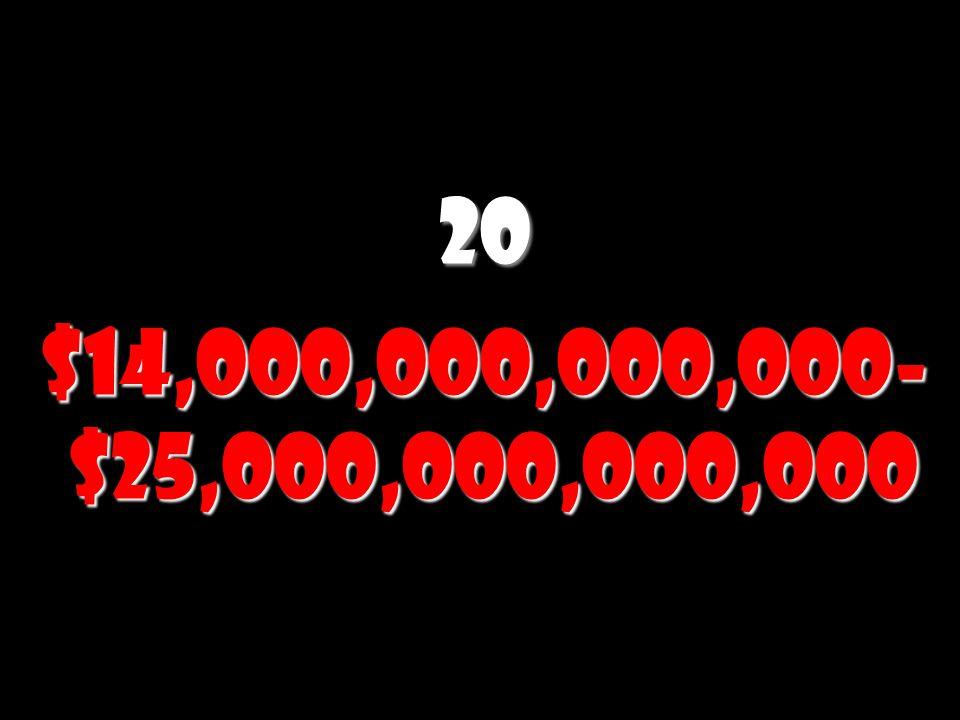 20 $14,000,000,000,000- $25,000,000,000,000