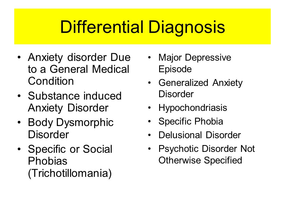 Differential Diagnosis Anxiety disorder Due to a General Medical Condition Substance induced Anxiety Disorder Body Dysmorphic Disorder Specific or Soc