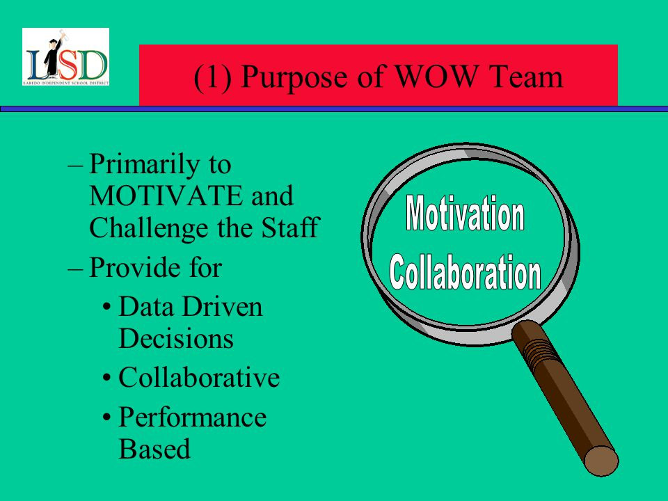 (1) Purpose of WOW Team –Primarily to MOTIVATE and Challenge the Staff –Provide for Data Driven Decisions Collaborative Performance Based